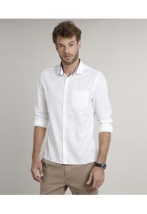 Camisa Masculina Slim Texturizada Com Bolso Manga Longa Off White