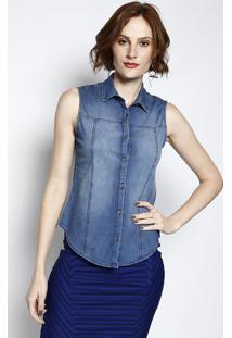61824cf47856 Camisa Jeans Com Botões - Azul - Cativacativa