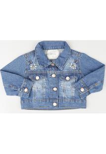 Jaqueta Jeans Infantil Com Bordado Floral E Bolsos Azul Médio