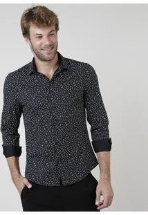 Camisa Masculina Slim Fit Estampado De Risquinhos Manga Longa Preta
