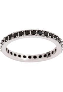 Aliança The Ring Boutique Cravejada De Zircônias Em Ródio Branco - Tricae