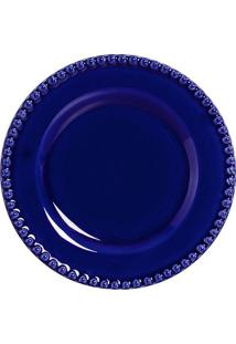 Prato Sobremesa Bolinha Azul 6 Peças Scalla