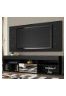 Rack Com Painel Para Tv Até 65 Polegadas Madesa London 1 Porta Com Espelho - Preto