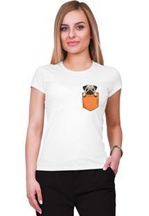 Camiseta Criativa Urbana Pug No Bolso Mini Tumblr Básica Branco.