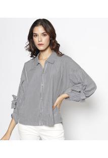Camisa Listrada Com Ilhós - Branca   Cinza Escuro - Lebôh d286014bbf