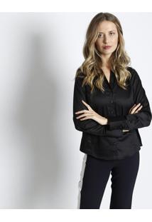 Camisa Lisa Com Bordado- Preta   Brancaus Polo 50a71ed2386bb