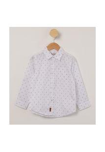 Camisa Infantil Manga Longa Com Bolso E Mini Estampa De Âncoras Off White