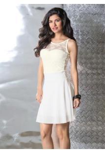 Vestido Êvase Branco Detalhe Renda Nas Costas