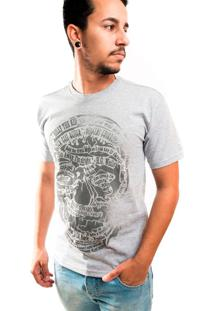 Camiseta Skul Line T-Shirt Gola Normal Estampada Cinza Claro Billy The Kid cbb5ae1d090
