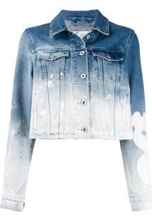 Off-White Jaqueta Jeans Com Efeito Manchado - Azul