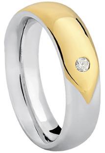 Aliança Noiva Ouro Branco Ouro Amarelo E Diamante