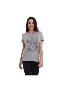 Camiseta Jay Jay Basica Get Lost Cinza Mescla Dtg