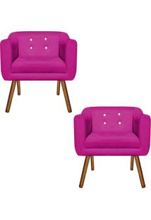 Kit 02 Poltronas Decorativa Julia Suede Pink Strass - D'Rossi