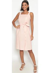 Vestido Listrado Com Botões- Rosa Claro & Branco- Vivip Reserva
