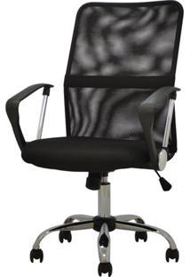 Cadeira Office Liberty Preta Base Cromada Rodizios - 38440 - Sun House
