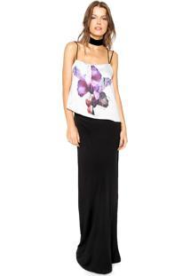 Vestido Calvin Klein Longo Estamapado Preto/Branco