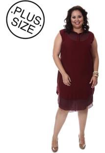 Vestido Plus Size Loulic Janaina Vinho