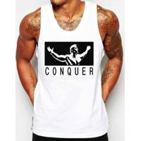 Camiseta Regata Criativa Urbana Conquista Academia Fitness -  Masculino-Branco 94706245e5635