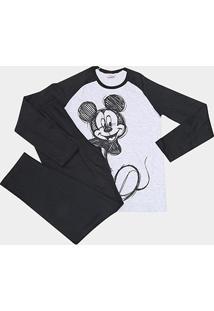 Pijama Infantil Evanilda Mickey Longo Masculino - Masculino