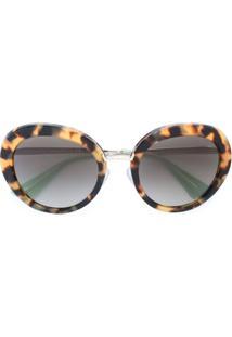 ca56e7cb559bf Prada Eyewear Óculos De Sol Armação Redonda - Marrom