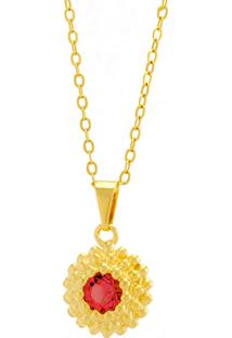Gargantilha Horus Import Ponto Luz Flor Rosa Banhada Ouro Amarelo 18 K - 1061123