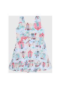 Vestido Fakini Infantil Estampado Bege/Azul