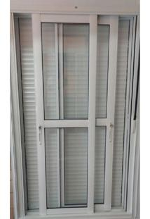 Porta Integrada Veneziana Taparella 2,20 X 1,20 Com Persianas De Enrolar E Sistema Blackout Cor Branco
