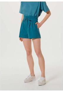 Shorts Feminino Clochard Em Tecido Flamê Azul