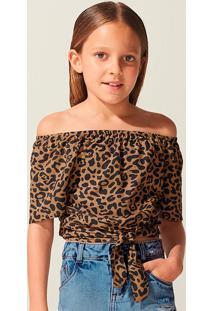 Blusa Shoulderless Infantil Menina Animal Print Triya