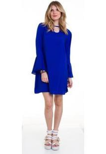 Vestido Manola Manga Flare Viscose Feminino - Feminino-Azul