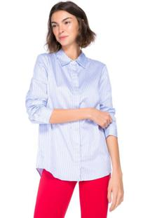 Amaro Feminino Camisa Elegance Essential, Listrado Azul Claro Fino
