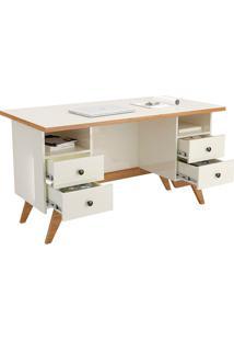 Mesa Para Computador C720 Off White/Freijó