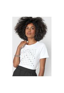 Camiseta Morena Rosa Logo Aplicações Branca