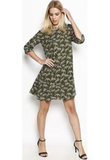Vestido Com Recortes - Verde Militar & Begemoiselle