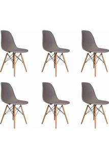 Conjunto 06 Cadeiras Eif.S/Branco Pp Cinza Base Madeira Rivatti - Cinza - Dafiti