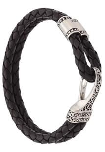 Nialaya Jewelry Bracelete Duplo De Couro - Preto