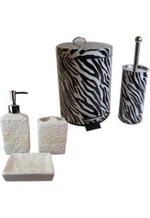 Kit Para Banheiro Com Lixeira Saboneteira Porta Escova Sabão Liquido - Deca R06