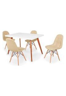 Conjunto Mesa De Jantar Gih 120X80Cm Branca Com 4 Cadeiras Botonê - Nude