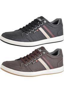 092122beaf9 Kit Tênis Sapatenis Cr Shoes Com Elástico Leve Lançamento Preto E Café