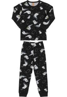 Conjunto Pijama Estampado Preto