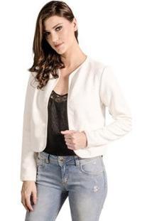Casaco Manga Longa Lume Feminino - Feminino-Off White