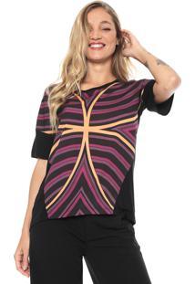 Camiseta Sacada Geométrica Preta/Roxo