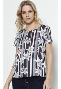 Camiseta Com Recorte Acetinado - Preta   Branca - Grgris ac70a58931