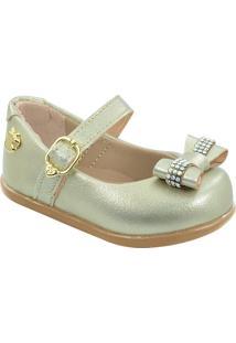 Sapato Infantil Metalizado Laço Pé Com Pé 13150
