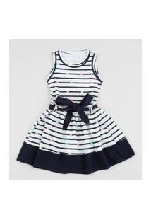 Vestido Infantil Listrado Com Faixa Para Amarrar Off White