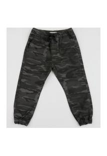 Calça De Sarja Infantil Jogger Estampada Camuflada Com Bolso Cinza