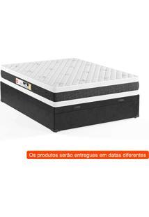 Cama Box Casal Premium Com Baú Corino Preto Com Colchão Black White D45 Branco
