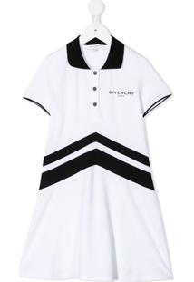 Givenchy Kids Vestido Com Estampa Chevron - Branco