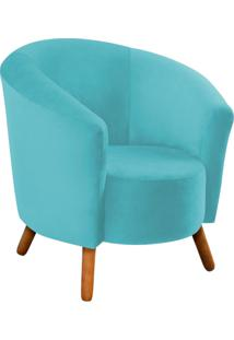 Poltrona D'Rossi Decorativa Angel Suede Azul Tiffany Com Pés Palito - D'Rossi