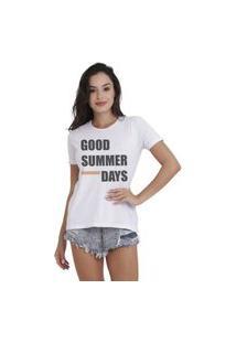 Camiseta Jay Jay Basica Good Summer Days Branca Dtg